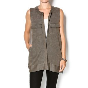Free People Highway Zip Up Vest in Olive Green Size Small